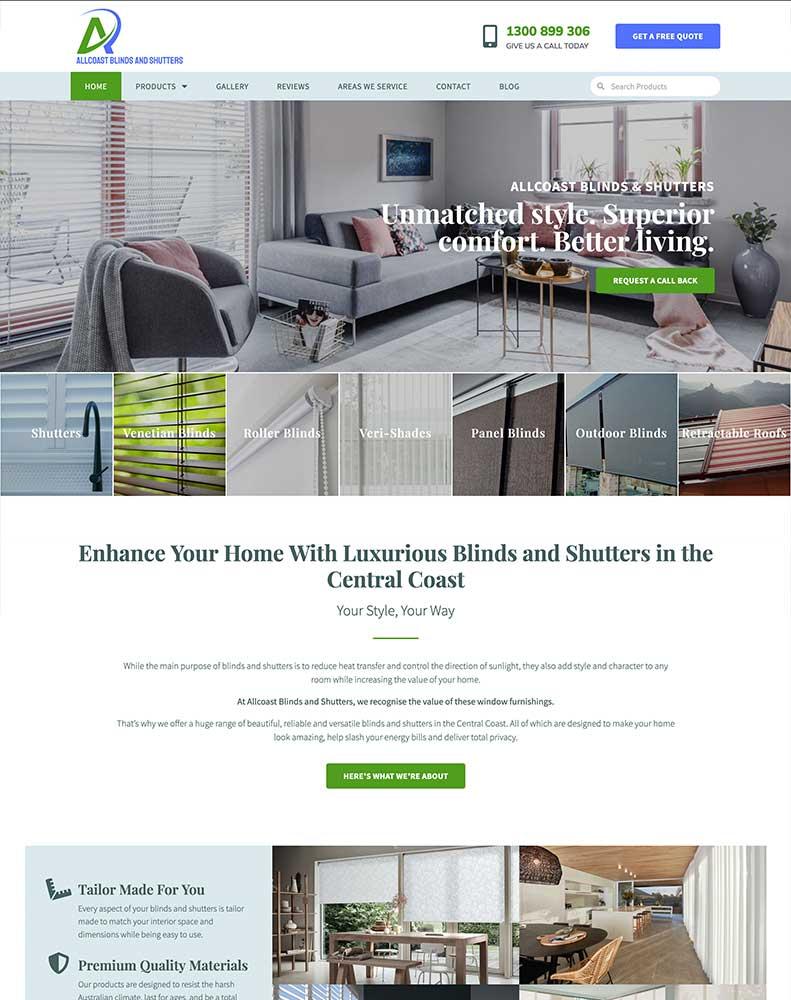 Allcoast Blinds & Shutters Web Design Project