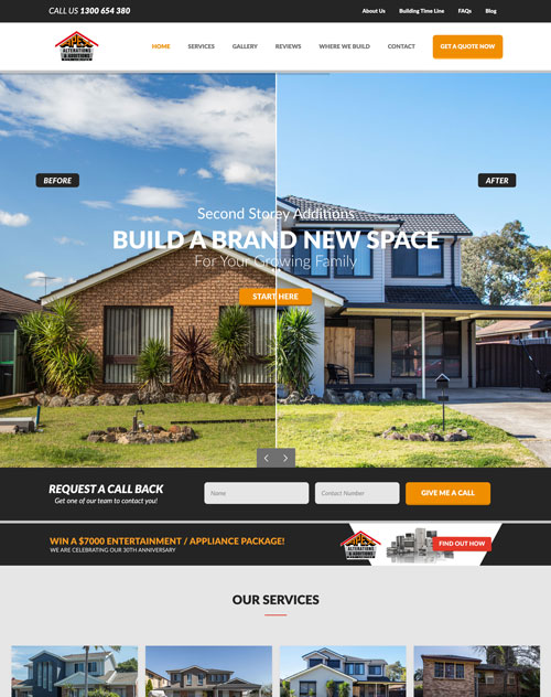 Apex Alterations & Additions Website Design Project
