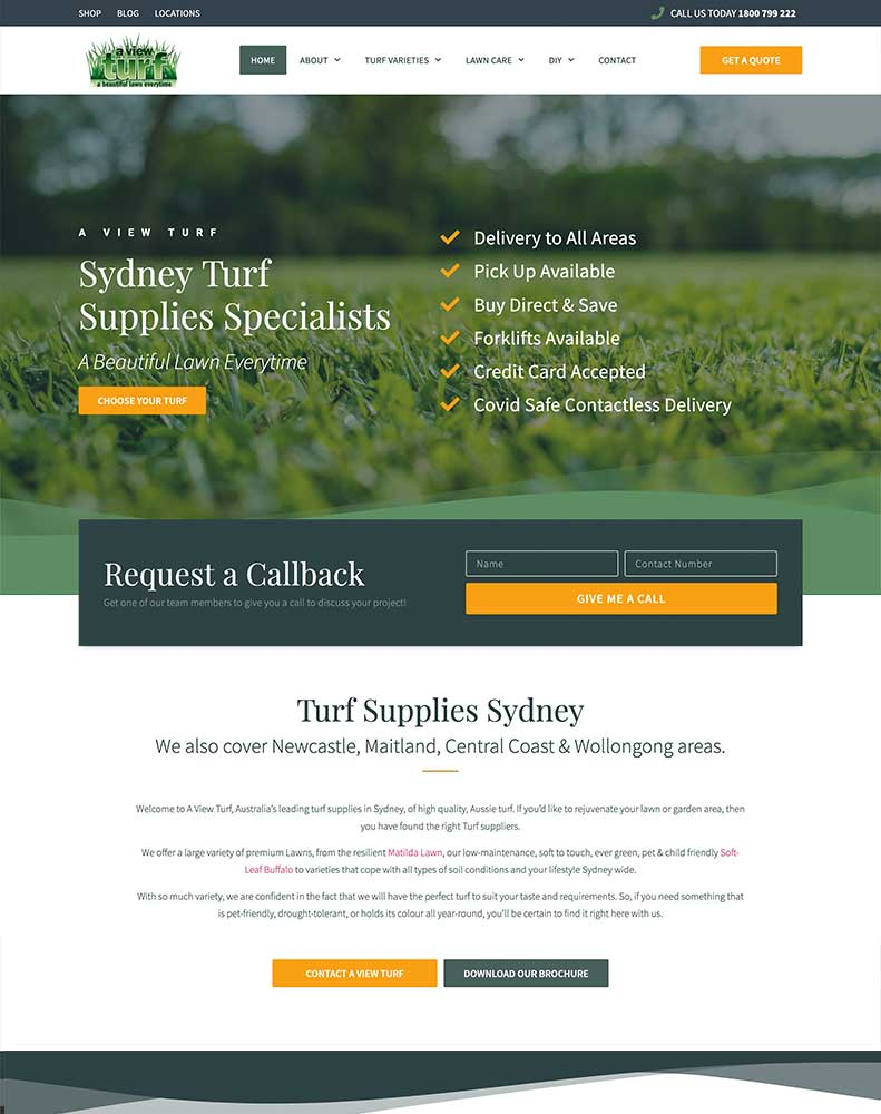 A View Turf Web Design Project