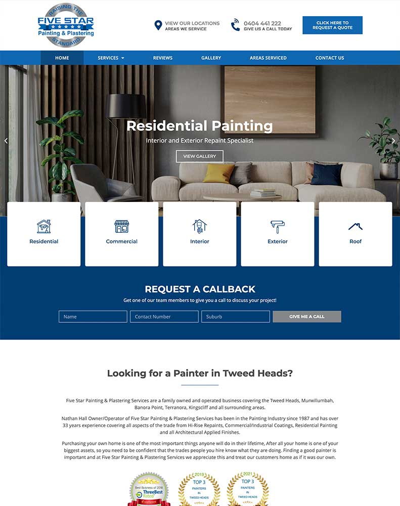 Five Star Painting & Plastering Website Design Project