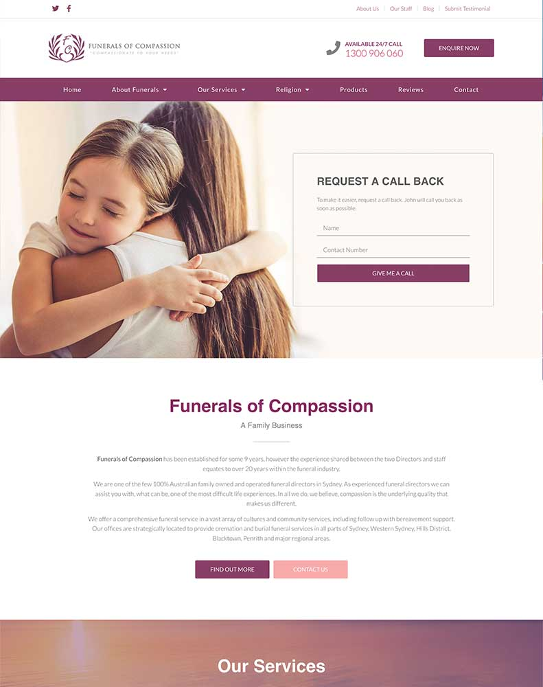 Funerals of Compassion Website Design Project