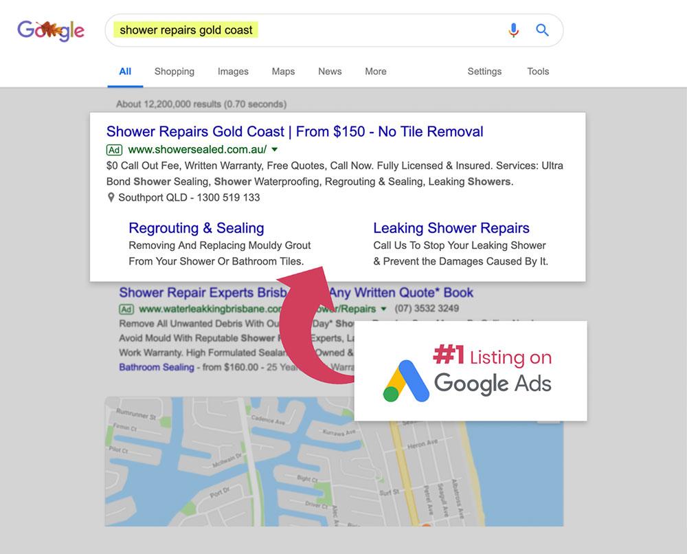 Shower Sealed Google Ads Results