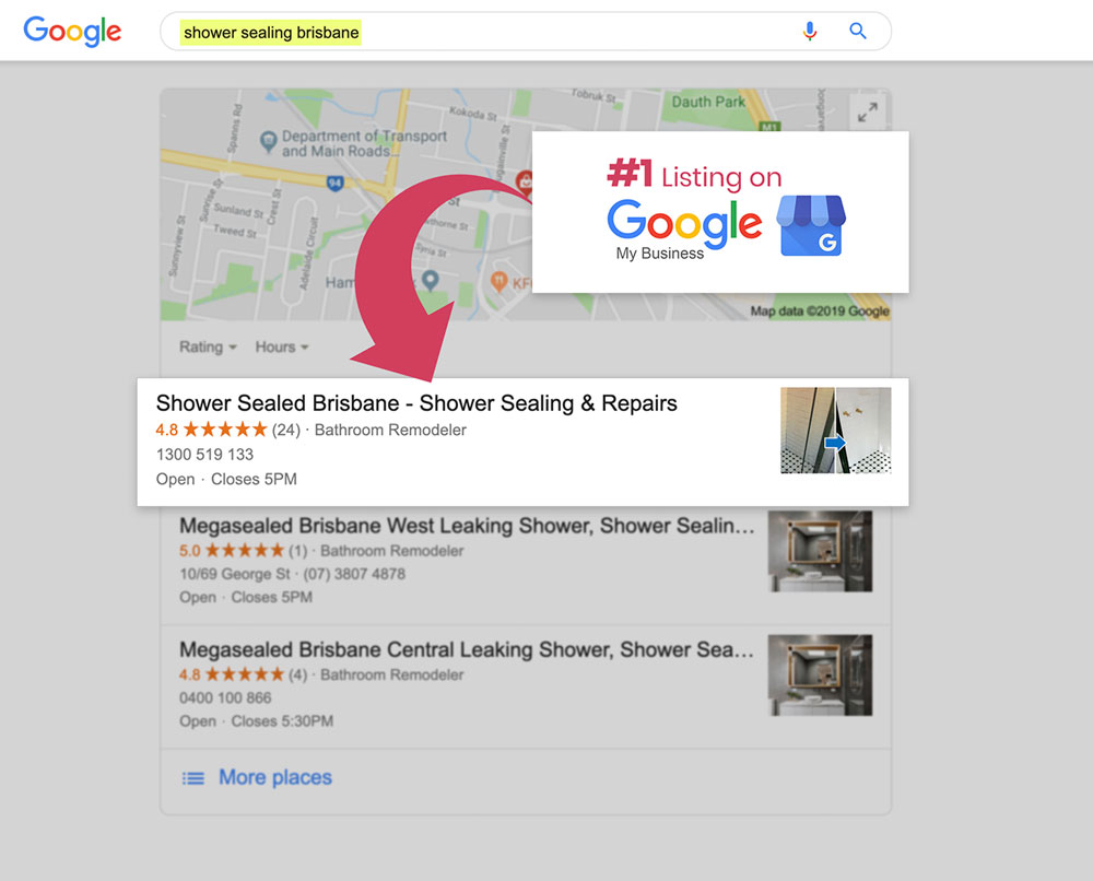 Shower Sealed Google My Business Results